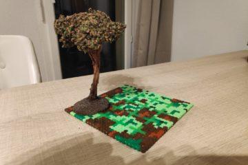 support de jeu JDR en perler thème forêt